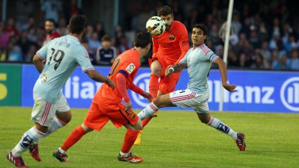 Celta 0-1 Barça Pique Messi 2015
